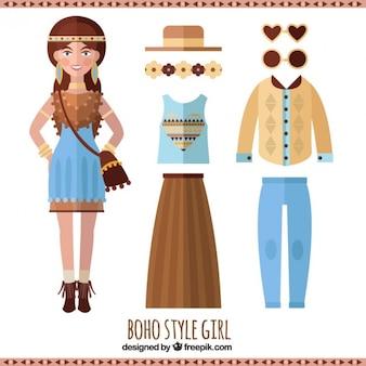 Boho stijl meisje in plat design