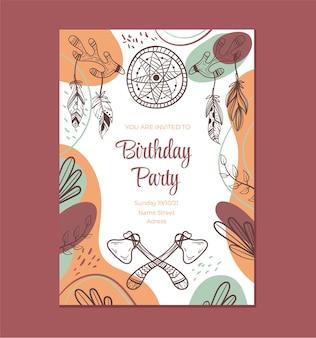 Boho stijl verjaardag uitnodiging sjabloon grafisch ontwerp illustratie