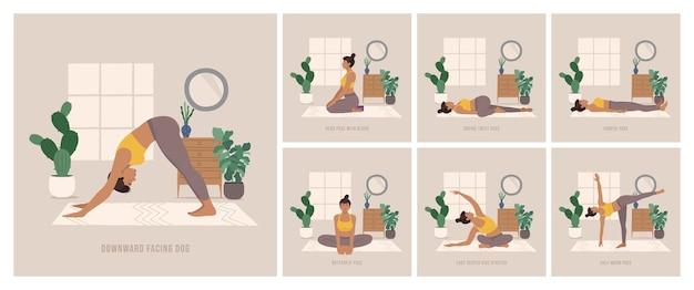 Boho-stijl yogahoudingen instellen jonge vrouw die yogahouding beoefent