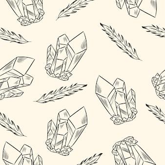 Boho veren en kristallen naadloze patroon