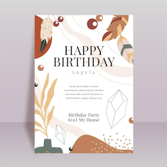Boho verjaardagsfeestje uitnodiging sjabloon