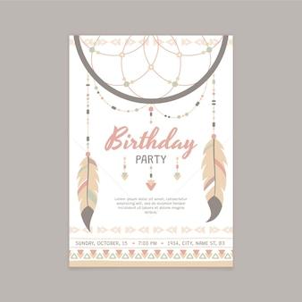 Boho verjaardagsuitnodiging sjabloon