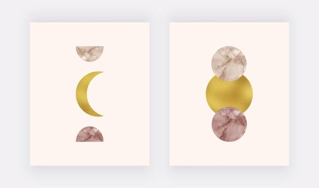 Boho wall art print met maan en zon alcohol inkt, gouden folie textuur.