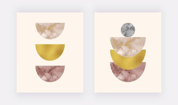 Boho wall art prints met beige en bordeaux alcohol inkt vormen en gouden folie textuur.