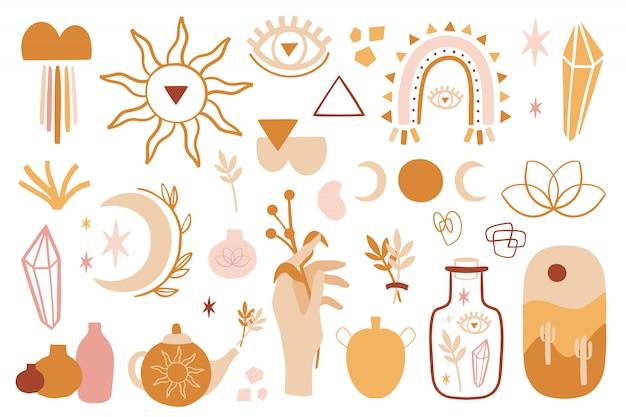 Boho zomerset met verschillende vormen, maan, kwarts, bloemen.
