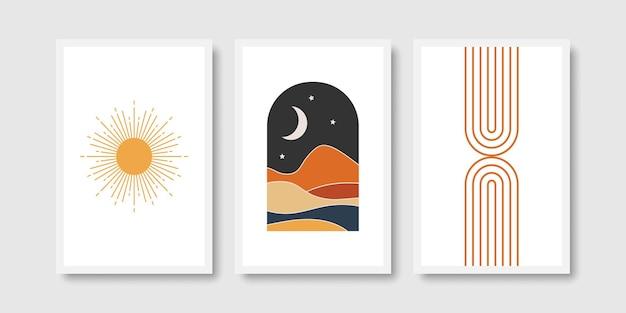 Boho zon regenboog en maan kunstafdrukken