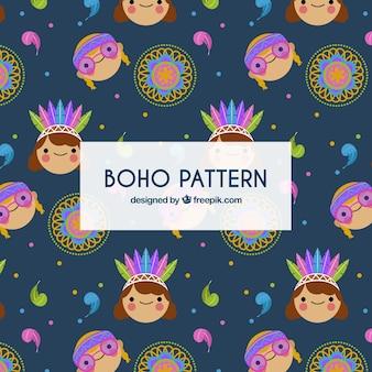 Bohopatroon met platte mandala's en hippies