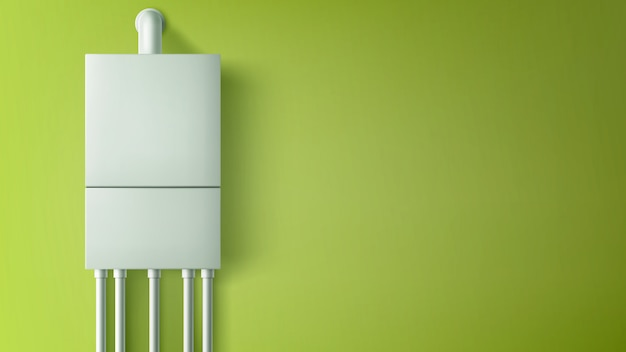 Boiler boiler met plastic buizen op de muur