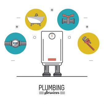 Boiler in close-up en sanitair pictogrammen op de top