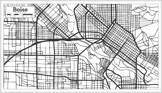 Boise usa stadsplattegrond in retro stijl. overzicht kaart. vectorillustratie.