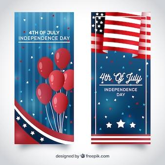 Bokeh banners met decoratieve voorwerpen voor de onafhankelijkheidsdag van de vs