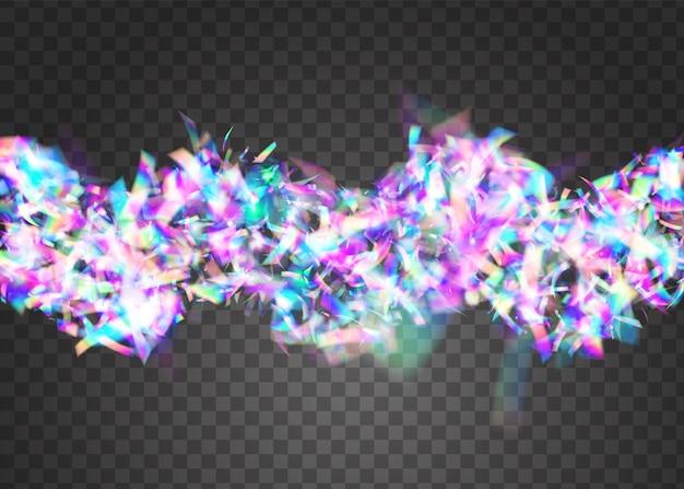Bokeh-effect. feestbanner. fiesta folie. webpunk kunst. blauwe discoconfetti. carnaval textuur. retro vieren achtergrond. vallende achtergrond. paars bokeh-effect