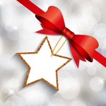 Bokeh kerst achtergrond met een ster label