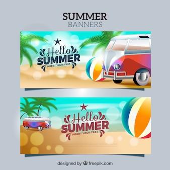 Bokeh zomer banners met realistische elementen