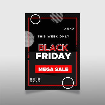 Bokeh zwarte vrijdag platte ontwerpsjabloon folder