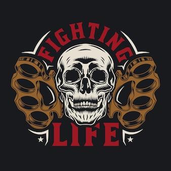 Boksbeugels met schedel vechtend levenskunstwerk