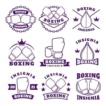 Boksclub labels emblemen badges set, boksgerelateerde ontwerpelementen voor prints, logo's of posters