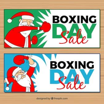 Boksen dag banners met hand getekende kerstman