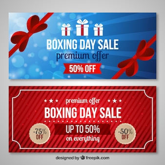 Boksen dag verkoop en premium aanbod banners