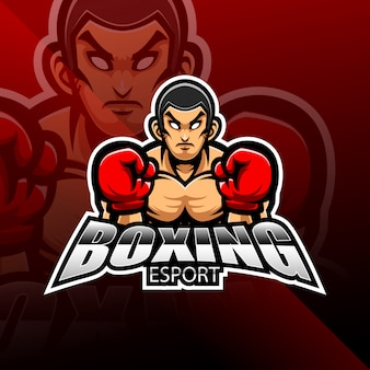 Boksen esport mascotte logo ontwerp