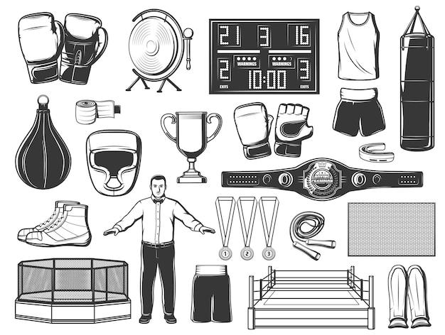 Boksen, mma en kickboksen sport pictogrammen