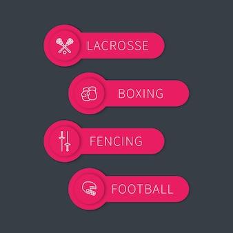 Boksen, schermen, lacrosse, voetballabels, banners met lineaire pictogrammen, vectorillustratie