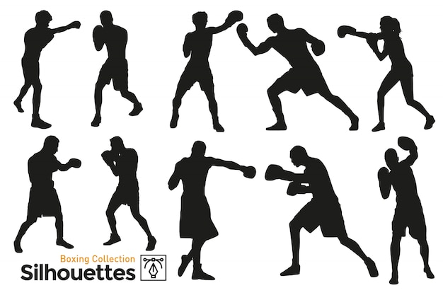 Boksen silhouetten. boxers trainen. geïsoleerde silhouetten. spelers die aan sport doen.