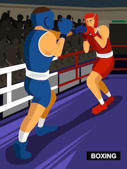 Boksen zomergame vechtsportevenement in vlakke stijl