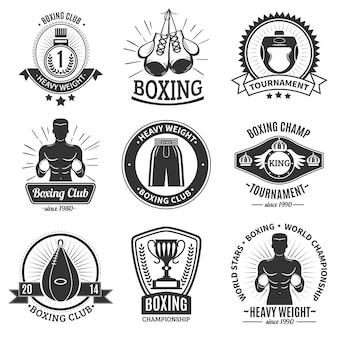 Boksen zwarte emblemen