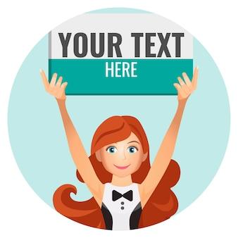Boksend meisje houdt speciaal bord met ruimte voor uw tekst geïsoleerd op azuurblauwe cirkel vectorillustratie. vrouw kondigt begin game aan
