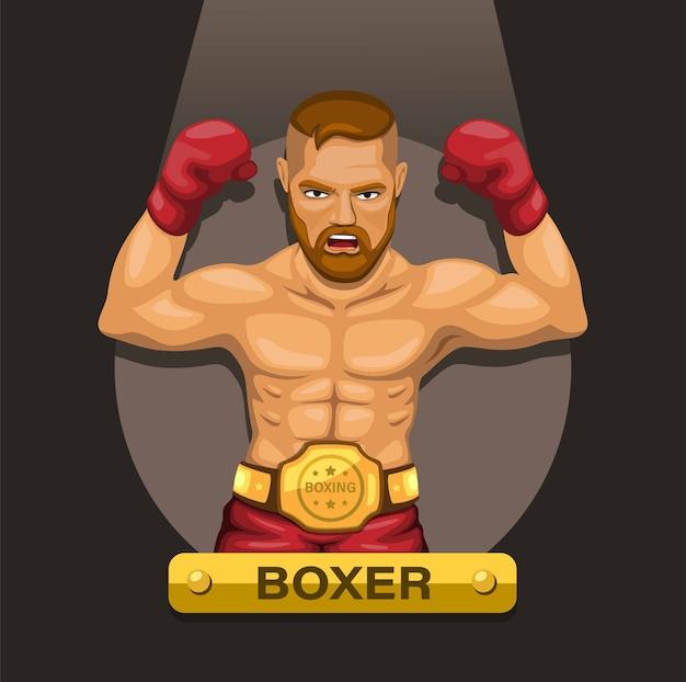 Bokser boksen atleet met kampioen riem op borst karakter concept
