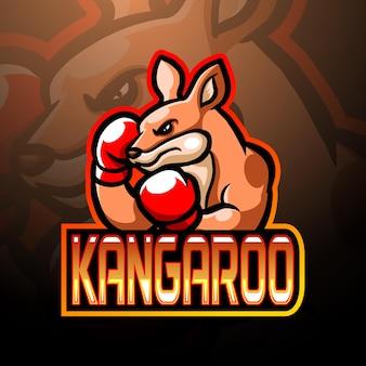 Bokskangoeroe mascotte esport logo ontwerp