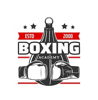 Bokssportpictogram, bokshandschoenen en bokszak