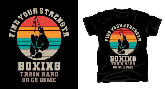 Bokstypografie met vintage t-shirtontwerp van bokshandschoenen