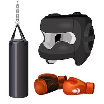 Boksuitrusting bokszak aan ketting, beschermend hoofddeksel masker, lederen handschoenen vectorillustratie geïsoleerd op een witte achtergrond