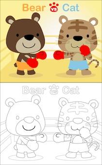 Bokswedstrijden met beer versus tijger