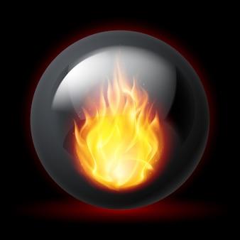Bol met vuur vlammen