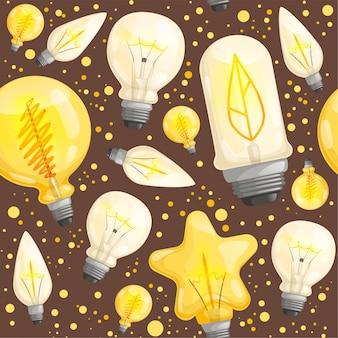 Bol naadloos patroon. licht lamp diode verlichting vectorafbeeldingen