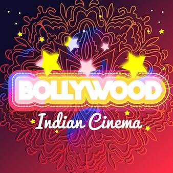 Bollywood belettering mandala achtergrond