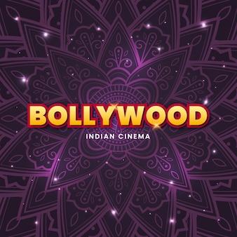 Bollywood belettering met glanzende mandala achtergrond