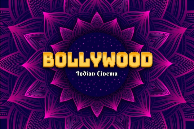 Bollywood belettering met mandala achtergrond