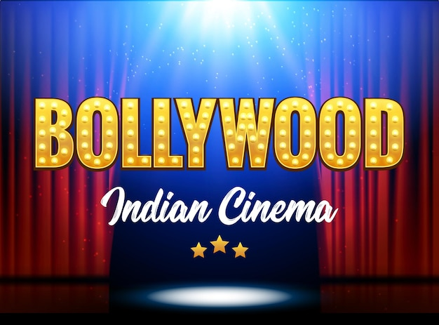 Bollywood indiase bioscoopfilmbanner. indian cinema logo teken gloeiend ontwerpelement met podium en gordijnen.
