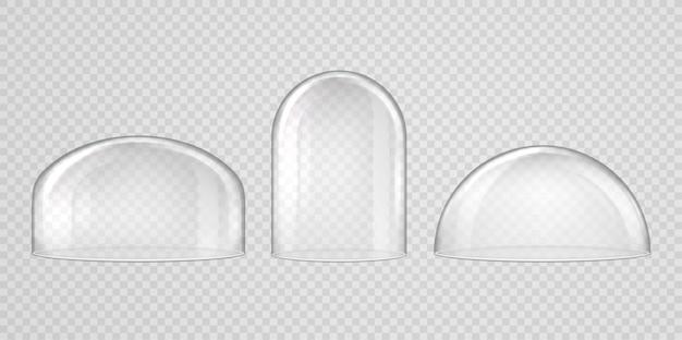 Bolvormige glazen koepels ingesteld op transparant