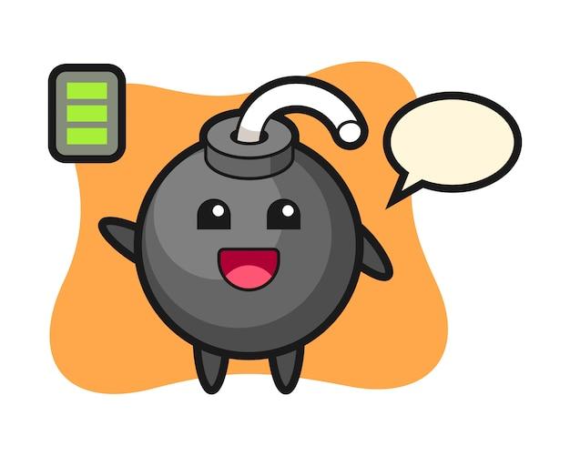Bom mascotte karakter met energiek gebaar