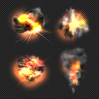 Bom ontploffing. geëxplodeerde vuurvlam en rook dramatische effecten vector realistische sjablonen. illustratie dynamiet vuur boom, ontploffen beweging