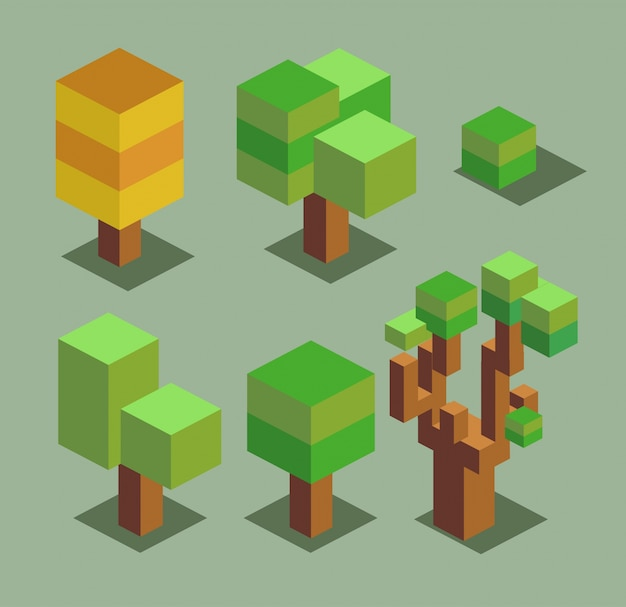 Bomen 3d pixel