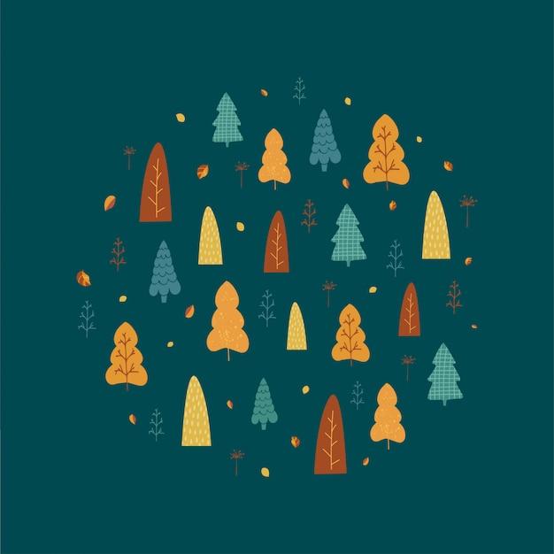Bomen, bladeren en hand belettering herfst in cartoon-stijl.