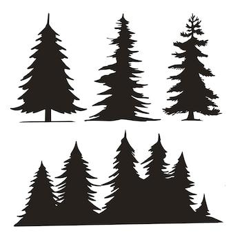 Bomen bos silhouetten set vintage