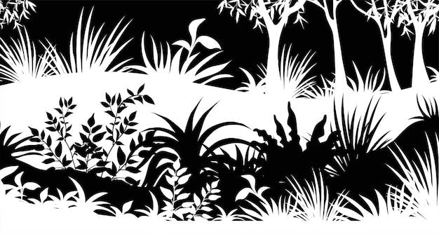 Bomen en gras in zwart en wit