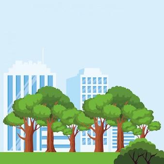 Bomen en stadsgebouwen over blauwe achtergrond